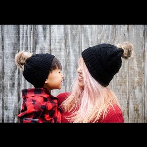 Mommy and me Pom Pom hats