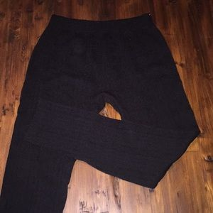 Black Cable Knit Fleece-Lined Leggings