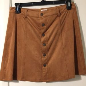 Button down suede-like skirt