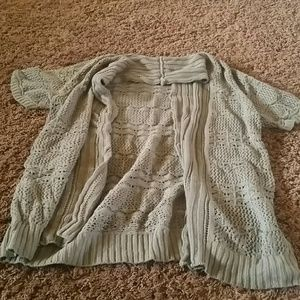 Short sleeve grey sweater cover up