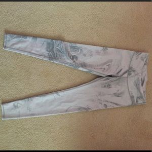 alo yoga white and grey leggings