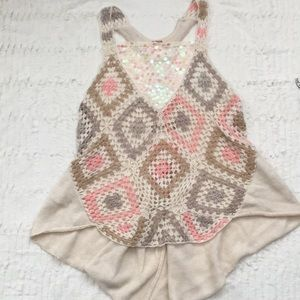 Free People sequined crochet tank