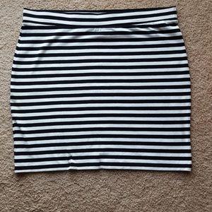 H&M black and white striped mini skirt, never worn