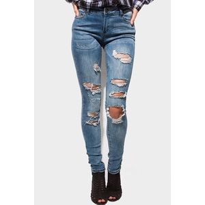 Denim - Womens Mid Rise Ripped Skinny Jeans