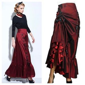 Dresses & Skirts - Red Silky Lace Up Trumpet Skirt