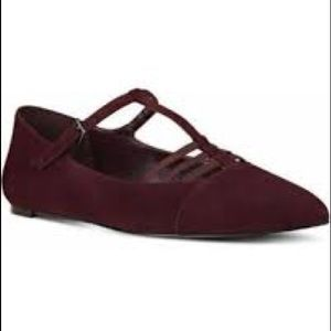 Wright T-Strap Suede Wine Flats
