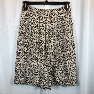 Banana Republic Silk Skirt Brown/Cream, Size 0