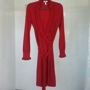 Gap dress small wrap red ruffled
