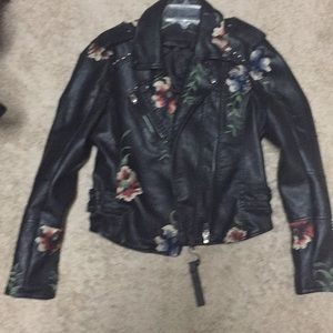 Blank NYC Faux Leather Embroidered MC Jacket NWT