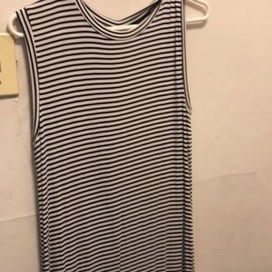 FOREVER 21 white and black striped knit dress