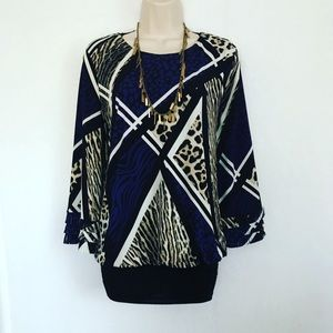 Mixed animal print blouse