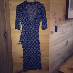 Vintage Merona XS wrap dress Navy blue and white