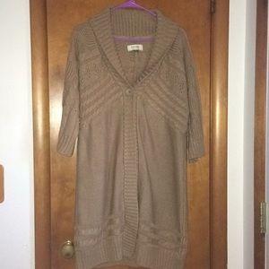 Long Tan Knit 3/4 Sleeve Sweater