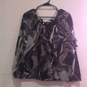 Gray &  black flowered blouse size large