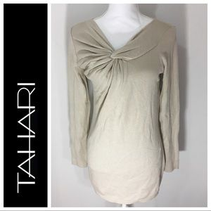 Tahari cotton sweater knot front detailing