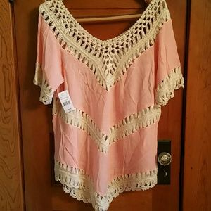 NWT - pink cotton and crochet detailed top tunic.