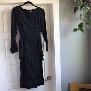 VINTAGE  Black Silk Cocktail Dress