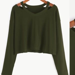 Tops - Cut-Out Long Sleeve Crop Tee