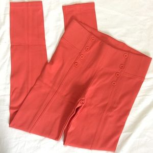 Coral High Waisted Pleated Leggings