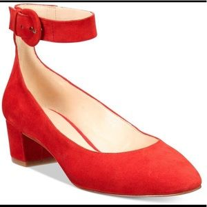Brianyah Buckle Block-Heel Pointed Suede Red Pumps