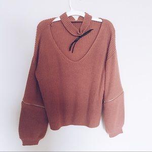 Choker slouchy sweater trendy