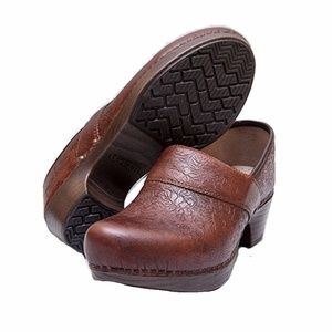 Dansko Prima Brown Floral Tooled Clogs Size 38
