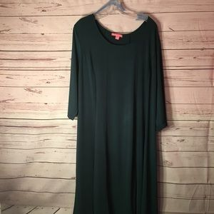 Woman Within 22/24 Green dress 3/4 sleeve