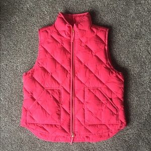 bright pink j crew vest