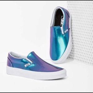 Vans Pearlescent Blue Purple Holographic Slip Ons