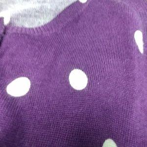 J. Crew Purple Polka Dot Cardigan