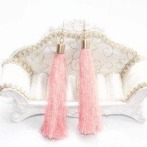 Baby Pink Fringe Tassel Earrings