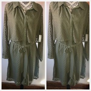 NY Collection Green Swiss Dot Dress Size XL