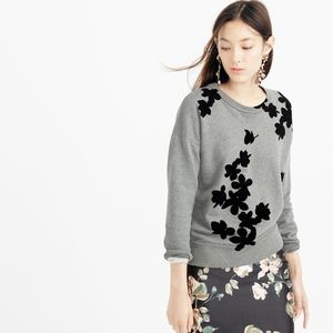 J Crew Graphic Floral Pullover Sweatshirt L