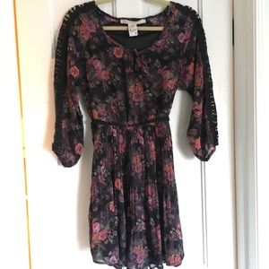 Pink and Black Floral and Lace Dress