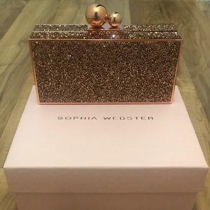 Sophia Webster Clara box clutch NWT Rose Gold