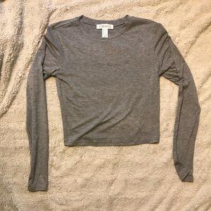 Forever 21 grey long sleeve crop top