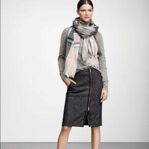 J. Crew Houndstooth Wool Zipper Skirt