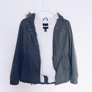 olive army jacket faux fur hood