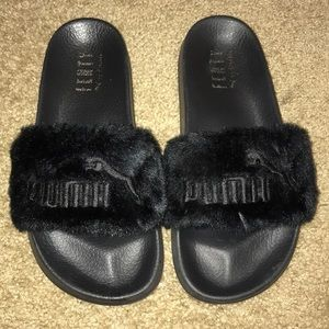 Black Fur Fenty Puma Slides