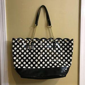Like new Betsey Johnson polka dot tote bag