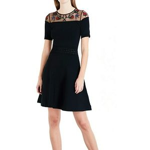 Sandro Rose & Bird Embroidery Paneled Knit Dress