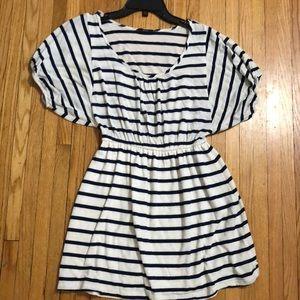 Navy & khaki striped dress