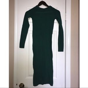 BEBE Hunter Green Midi Seamless Dress