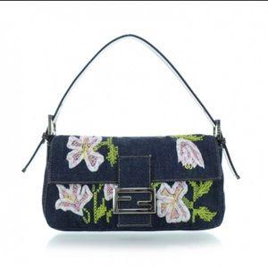 FENDI Denim Embroidered Shoulder bag. Authentic