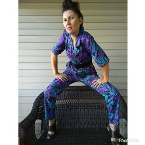 80s print jumpsuit with pockets