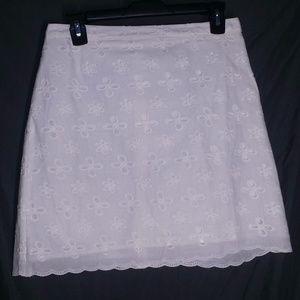 Ann Taylor Loft Skirt 4 Mini White Eyelet