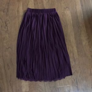 Xhilaration Wine Purple Pleated Midi Skirt XS