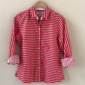 Foxcroft Red NYC Heritage Button Down sz 8 Petite