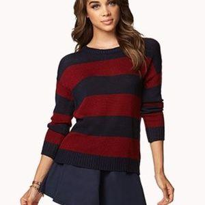 Rugby Striped Sweater Open Weave Knit Stripe Top