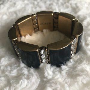J. Crew Navy Blue and Crystal Stretch Bracelet